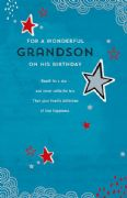 Grandson Blue Star Birthday Card